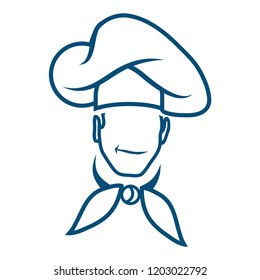 chef logo, cook emblem, chef in a cooking hat, cooking logo, vector artwork