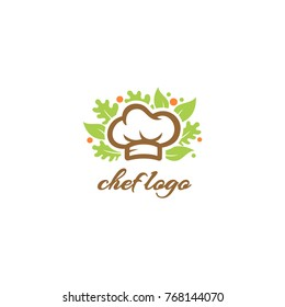 Chef Logo - Chef Hat Vector - Salad and Vegetables Template