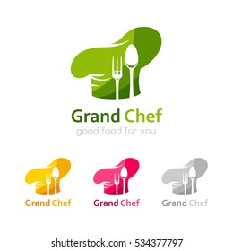 Chef logo template. Icon of cook hat with fork and spoon silhouettes. Vector symbol for menu, restaurant, cafe, bistro. Three color variants