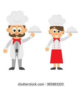 chef man and woman with a plate set