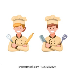 Chef Man and Woman in Uniform Ready To Cooking Symbol Icon Set in Cartoon illustration Vector on White Background