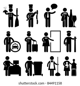 Chef Manager Waiter Butler Taxi Driver Bellman Receptionist Security Guard Cashier Cleaner Maid Babysitter Nanny Job Occupation Sign Pictogram Symbol Icon