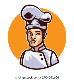 Chef mascot logo illustration vector