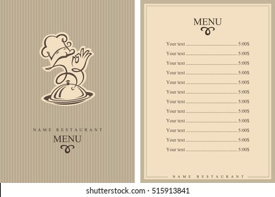 Chef menu design. Brochure template for restaurant. Vector illustration