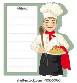 Chef with Menu Signboard and Spaghetti