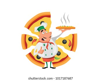Chef with a mustache with pizza