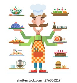 Chef offers a range of beautiful served dishes. Meal in a restaurant. Career in catering. Catering business. Vector flat illustration