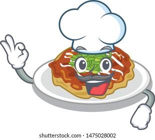 Chef okonomiyaki in the a mascot shape