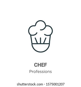 Chef outline vector icon. Thin line black chef icon, flat vector simple element illustration from editable professions concept isolated on white background
