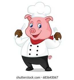 Chef Pig Cartoon Mascot Holding Fork And Knife Isolated On White Background