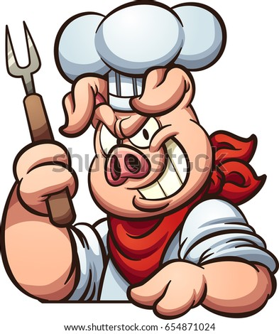 chef pig evil smile vector clip stock vector royalty free rh shutterstock com Chef Pig Coloring Pages Cook Pig Clip Art