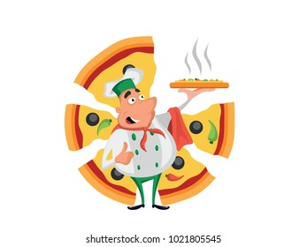 Chef with pizza
