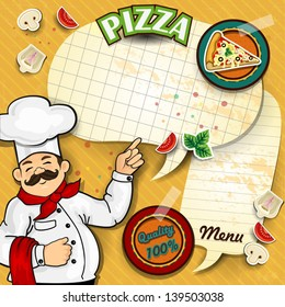 Chef with pizza cartoon comic where you canwrite down the menu-transparency blending effects and gradient mesh EPS-10