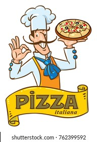 Chef with pizza. Emblem design of funny baker man and vintage logo on cartouche. Children vector illustration.