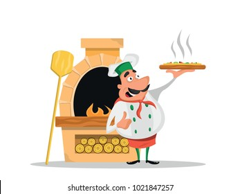 Chef with pizza near a pizza oven