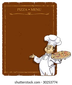 Chef with Pizza-Menu