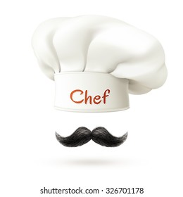 Chef realistic concept with white hat and mustache isolated vector illustration