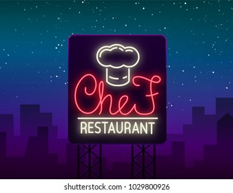 Chef restaurant logo, sign, emblem in neon style. Glowing signboard, bright banner. Glowing advertisement of a restaurant, a cafe a snack bar and other establishments. Vector illustration. Billboard