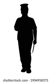 Chef in restaurant silhouette vector on white background