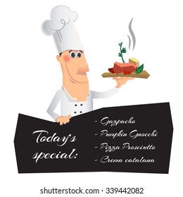 Chef serving the dish and holding menu board. Vector illustration