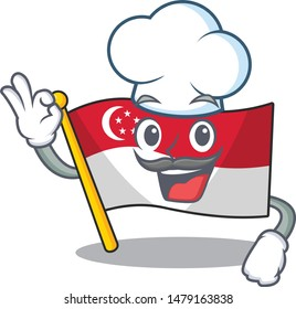 Chef singapore flag above a cartoon pole
