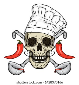 Chef skull with chili peppers