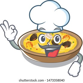 Chef spanish paella cooked in cartoon skillet