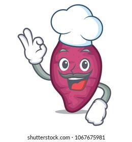 Chef sweet potato character cartoon