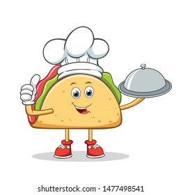Chef Taco Mexican Cartoon Mascot Character Holding a Silver Dome or Cloche.