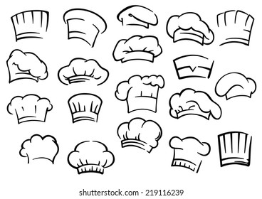 Chef toques and hats set isolated on white for restaurant, cafe and menu design