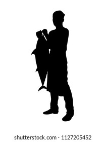 Chef with tuna fish silhouette vector