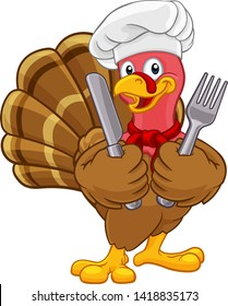 Chef Turkey Thanksgiving or Christmas bird animal cartoon character. Wearing a chefs hat and holding a knife and fork