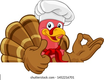 Chef Turkey Thanksgiving or Christmas bird animal cartoon character. Wearing chefs hat and doing a perfect or okay sign with one hand and a thumbs up with the other while peeking over background sign