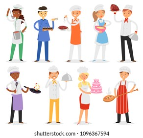 Chef vector cook character woman or man cooking food dish on kitchen of restaurant illustration set of professional cooker or baker people in uniform isolated on white background