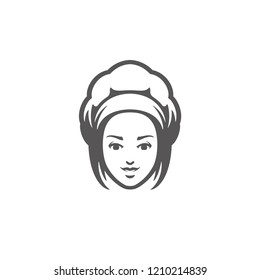 Chef woman face with hat silhouette isolated on white background vector illustration. Vector restaurant graphics illustration.