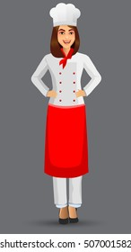 Chef woman illustration, cartoon cook icons, restaurant chef hats design template elements for your brochure, banner and web.