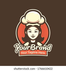chef woman logo for pastry, restaurant, cafe logo illustration mascot template