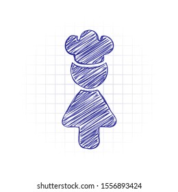 Chef woman simple silhouette. Kitchen icon. Hand drawn sketched picture with scribble fill. Blue ink. Doodle on white background