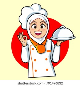 muslim chef images stock photos vectors shutterstock https www shutterstock com image vector chef woman white orange colors 791496832