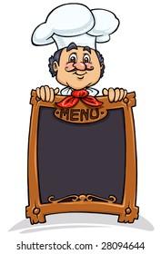 Chef-Mascot with Menu board