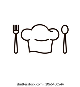 Chef's Cap icon. Next fork and spoon. Kitchen simple black icon.