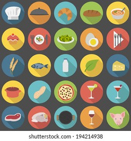 Chef's flat food icons for menus, restaurants and cooking