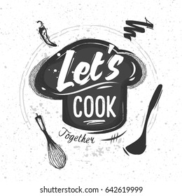 Chef's hat with lettering. Sketched elements of kitchen appliances. Black and White Chalk style