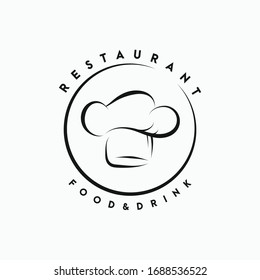 chef's hat and restaurant logo, icon and illustration