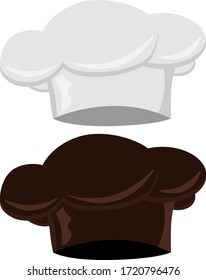 Chef's hat. Set of two chef hats on a white isolated background.