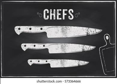 Chefs knife. Vector sketch chalk illustration design
