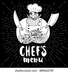 Chef's menu logo. Chalkboard, background. Chef, male, beard, mustache, knife, smile, cleavers, chef's hat, light rays. Hand drawn vector illustration.