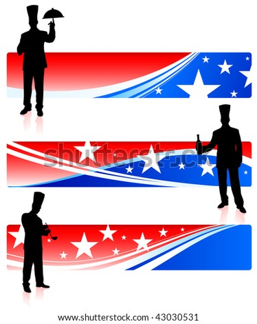 chefs with patriotic banners Original Vector Illustration