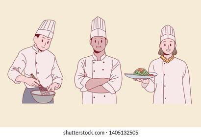 Chefs posing in uniform. hand drawn style vector design illustrations.