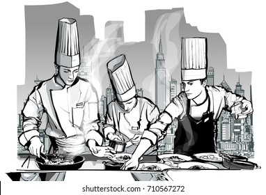 Chefs in a restaurant kitchen cooking - vector illustration